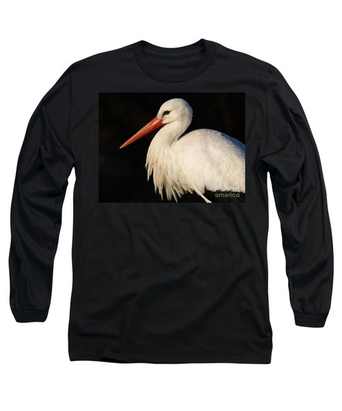 Portrait Of A Stork With A Dark Background Long Sleeve T-Shirt