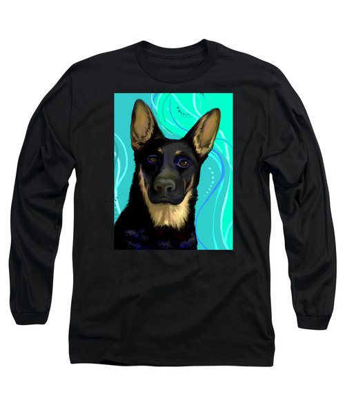 Long Sleeve T-Shirt featuring the digital art Portrait Of A German Shepherd Dog by Karon Melillo DeVega