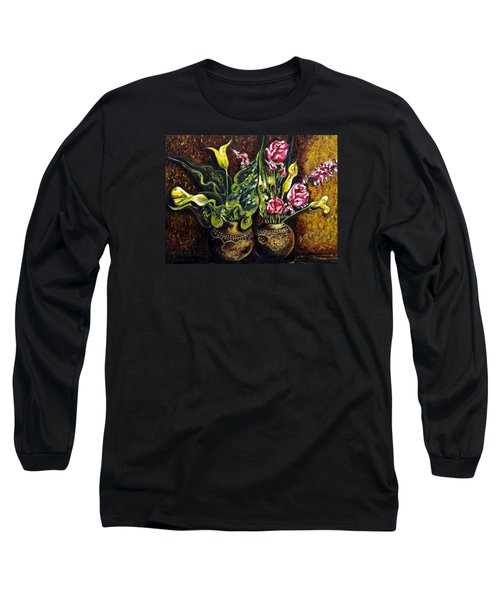 Long Sleeve T-Shirt featuring the painting Pots And Flowers by Harsh Malik