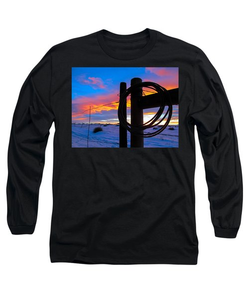 Prairie Fence Sunset Long Sleeve T-Shirt