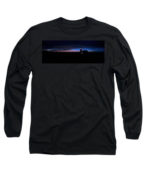 Pre Dawn Light Panorama At Quoddy Long Sleeve T-Shirt by Marty Saccone