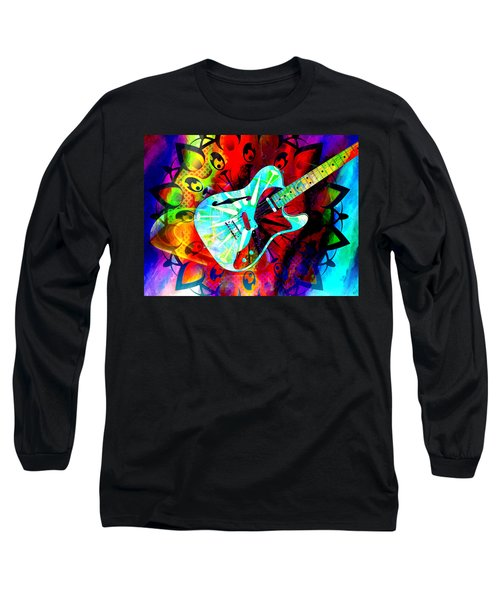 Psychedelic Guitar Long Sleeve T-Shirt by Ally  White