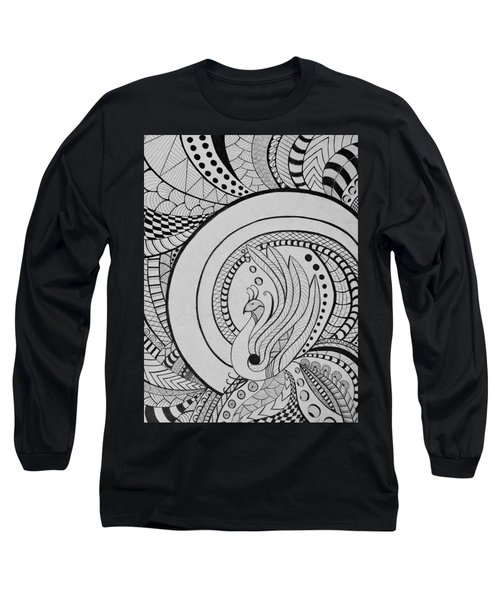 Psychedelic Peacock - Zentangle Drawing - Ai P.nilson Long Sleeve T-Shirt