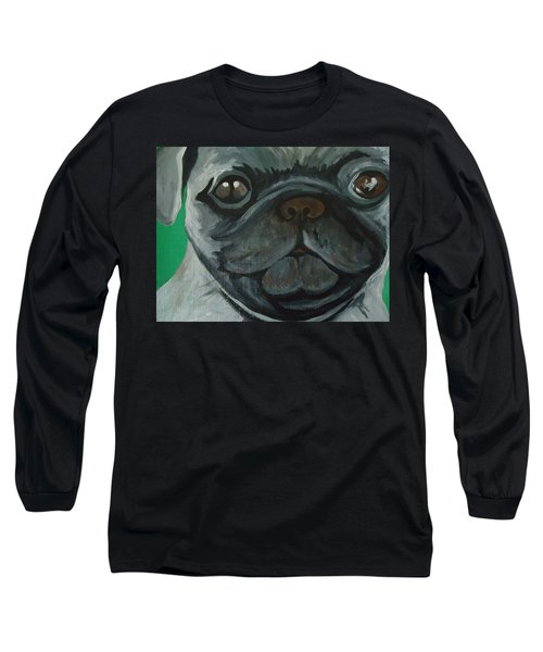 Long Sleeve T-Shirt featuring the painting PUG by Leslie Manley
