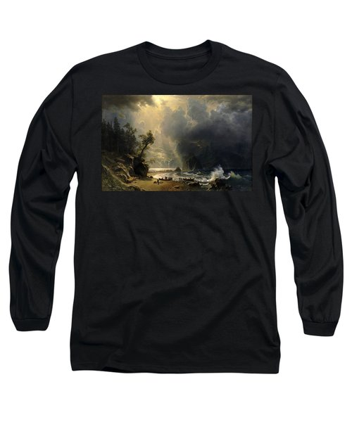 Puget Sound On The Pacific Coast Long Sleeve T-Shirt by Albert Bierstadt