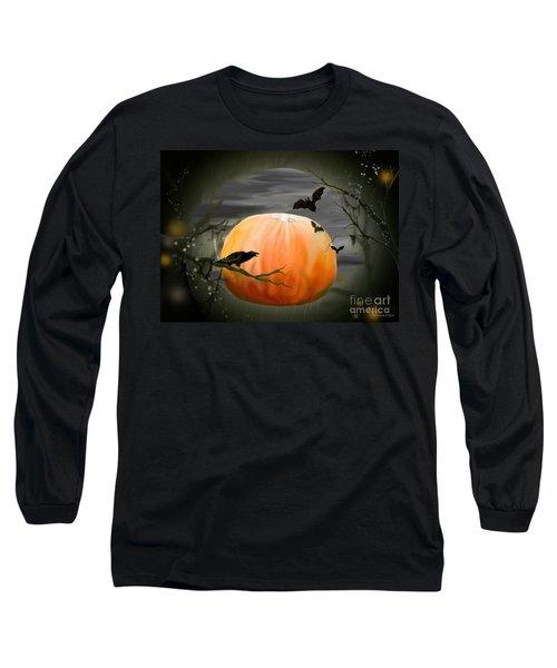 Long Sleeve T-Shirt featuring the photograph Pumpkin And Moon Halloween Art by Annie Zeno