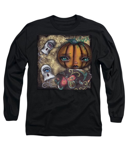 Pumpkin Girl Long Sleeve T-Shirt by Abril Andrade Griffith