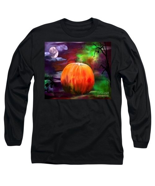 Long Sleeve T-Shirt featuring the photograph Pumpkin Skull Spider And Moon Halloween Art by Annie Zeno