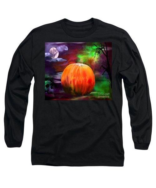 Pumpkin Skull Spider And Moon Halloween Art Long Sleeve T-Shirt by Annie Zeno