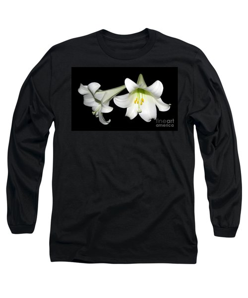 Long Sleeve T-Shirt featuring the photograph Pure White Easter Lilies by Rose Santuci-Sofranko