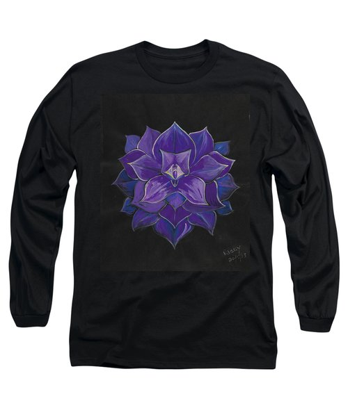 Purple Flower - Painting Long Sleeve T-Shirt by Veronica Rickard