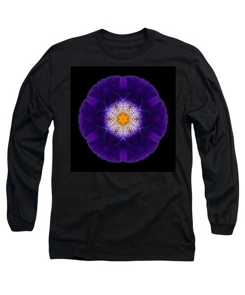 Purple Iris II Flower Mandala Long Sleeve T-Shirt