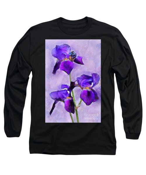 Purple Irises - Painted Long Sleeve T-Shirt