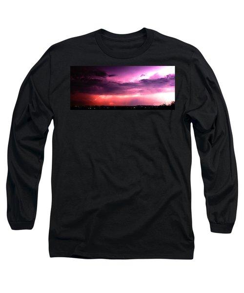 Purple Lightning Panorama Long Sleeve T-Shirt