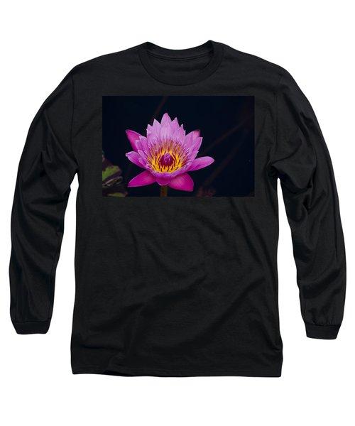 Purple Lotus Flower Long Sleeve T-Shirt