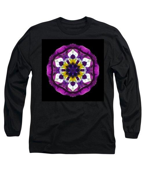 Purple Pansy II Flower Mandala Long Sleeve T-Shirt