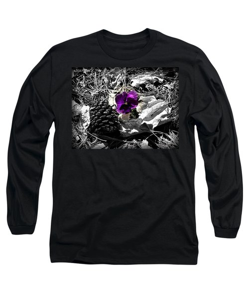 Long Sleeve T-Shirt featuring the photograph Purple Pansy by Tara Potts
