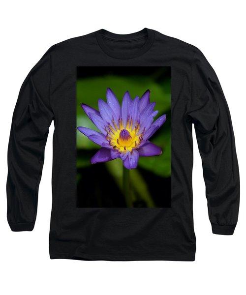 Purple Water Lily Long Sleeve T-Shirt by Pamela Walton