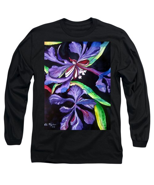 Purple Wildflowers Long Sleeve T-Shirt by Lil Taylor
