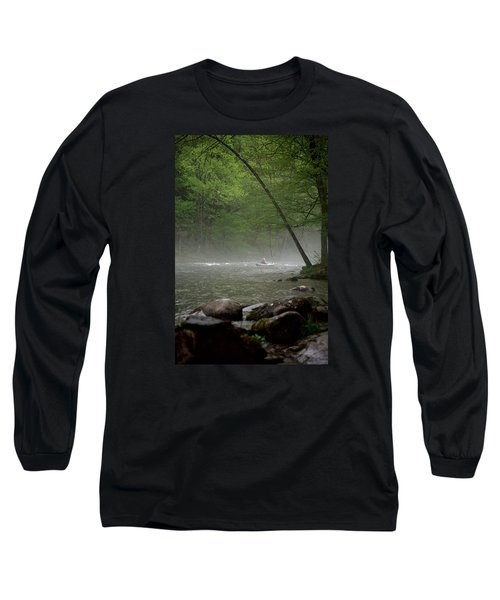 Rafting Misty River Long Sleeve T-Shirt by Lawrence Boothby