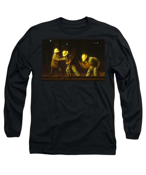 Long Sleeve T-Shirt featuring the photograph Railroad Workers by Mark Greenberg