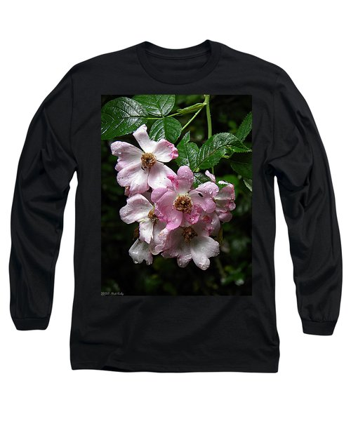 Rain Soaked Rose Long Sleeve T-Shirt by Nick Kirby
