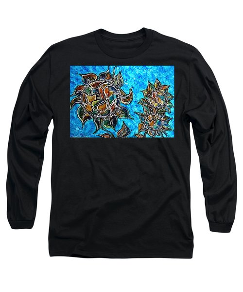 Rainbow Color Sunflowers Alcohol Inks Long Sleeve T-Shirt by Danielle  Parent