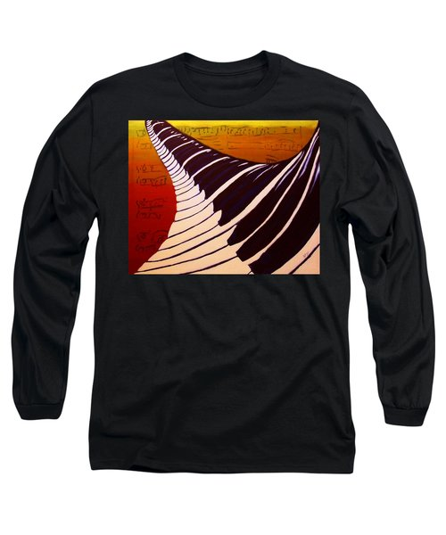 Long Sleeve T-Shirt featuring the painting Rainbow Piano Keyboard Twist In Acrylic Paint With Sheet Music Notes In Blue Yellow Orange Red by M Zimmerman MendyZ