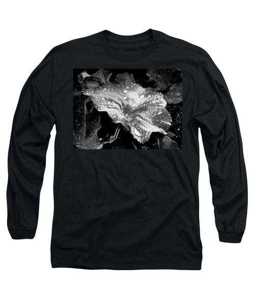 Raindrop Covered Leaf Long Sleeve T-Shirt