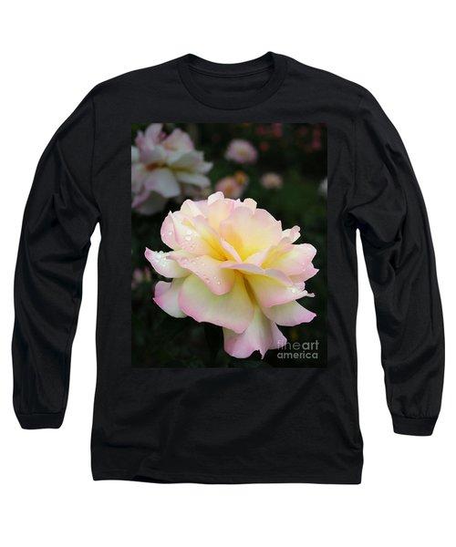 Long Sleeve T-Shirt featuring the photograph Raindrops On Rose Petals by Barbara McMahon