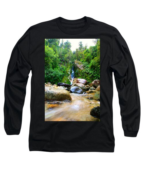 Long Sleeve T-Shirt featuring the photograph Rainforest Stream New Zealand by Amanda Stadther
