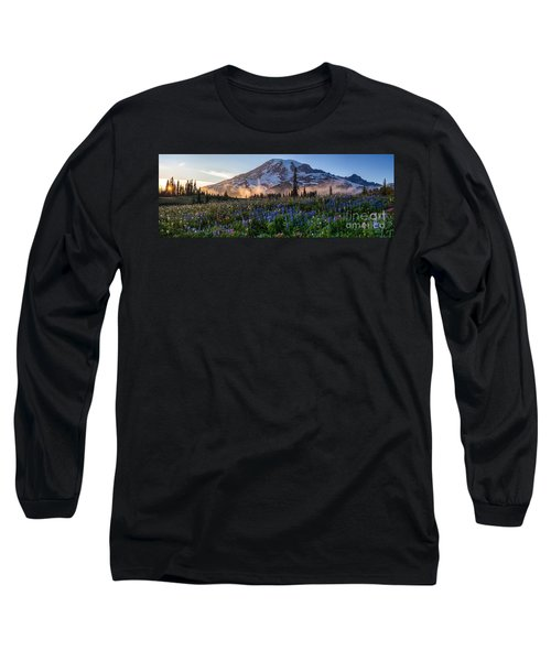 Rainier Wildflower Meadows Pano Long Sleeve T-Shirt