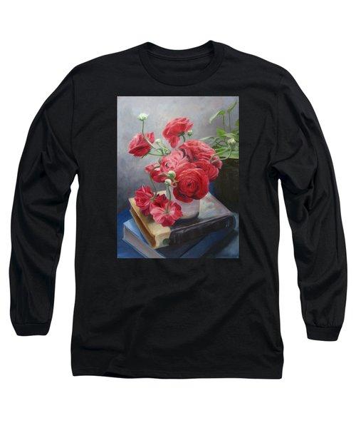 Ranunculus On Books Long Sleeve T-Shirt by Connie Schaertl