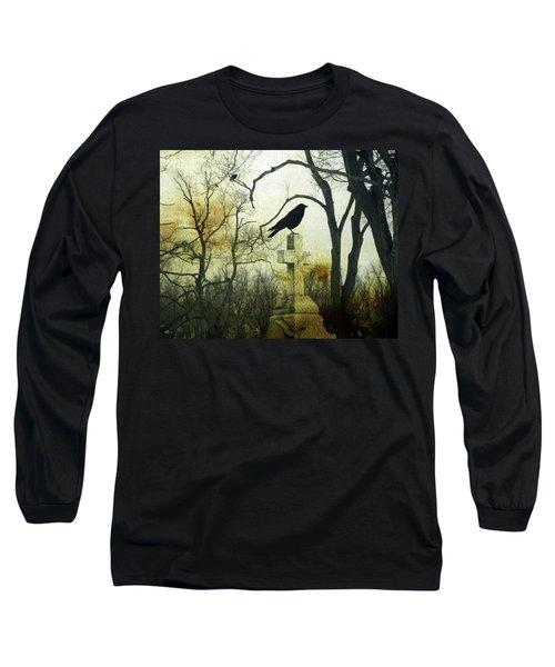 Raven On Cross Long Sleeve T-Shirt