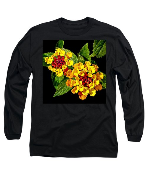 Red And Yellow Lantana Flowers With Green Leaves Long Sleeve T-Shirt
