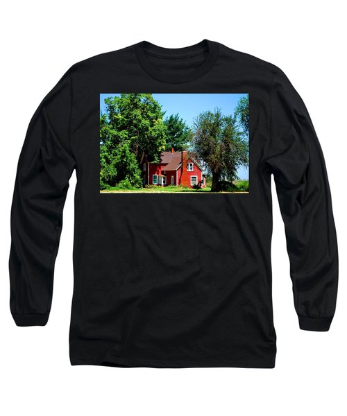 Long Sleeve T-Shirt featuring the photograph Red Barn And Trees by Matt Harang