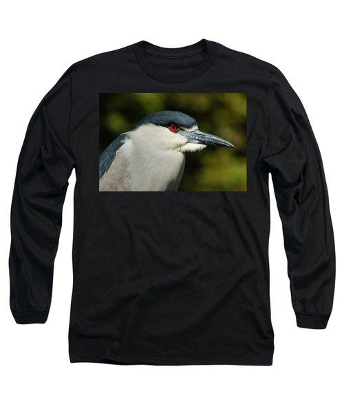 Long Sleeve T-Shirt featuring the photograph Red Eye - Black-crowned Night Heron Portrait by Georgia Mizuleva