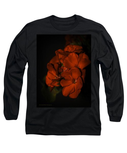 Long Sleeve T-Shirt featuring the photograph Red Flowers In Evening Light by Lucinda Walter
