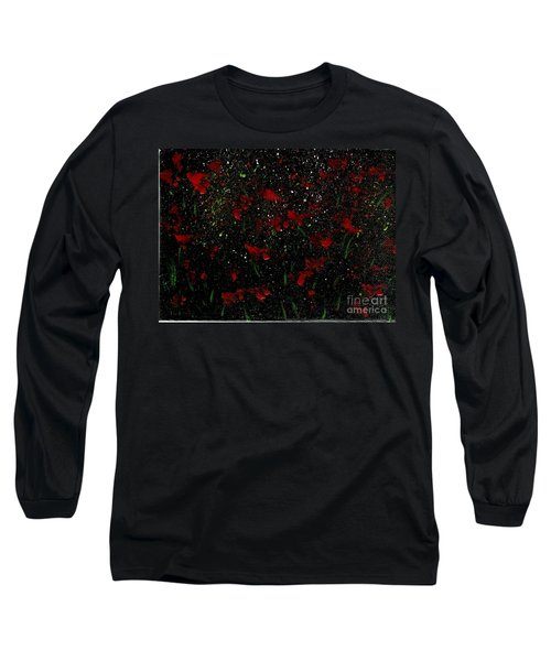 Long Sleeve T-Shirt featuring the painting Red Flowers In Twilight  by Becky Lupe