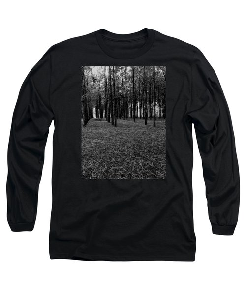 Red Forest In Black And White Long Sleeve T-Shirt