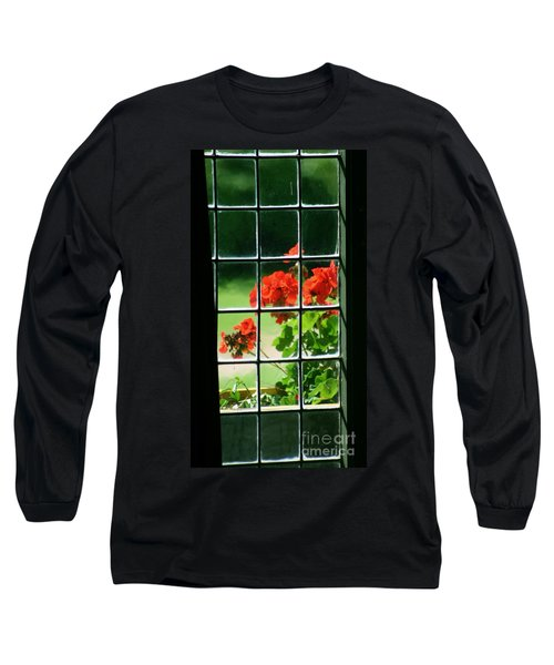 Red Geranium Through Leaded Window Long Sleeve T-Shirt