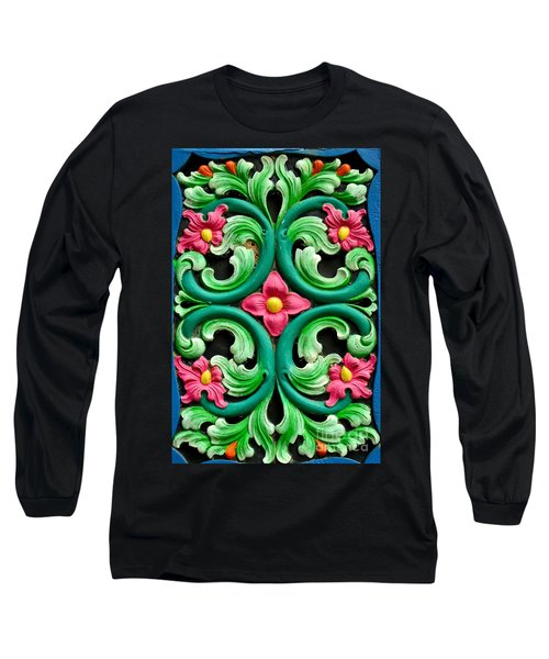 Red Green And Blue Floral Design Singapore Long Sleeve T-Shirt by Imran Ahmed