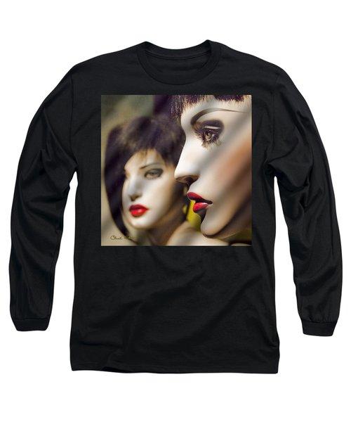 Red Lips - Black Heart Long Sleeve T-Shirt