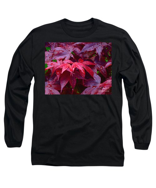Red Maple After Rain Long Sleeve T-Shirt by Ann Horn