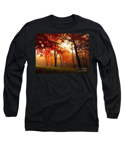 Red Maple Forest Long Sleeve T-Shirt by Terri Gostola