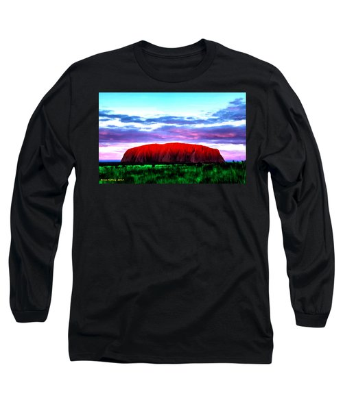Long Sleeve T-Shirt featuring the painting Red Mountain Sunset by Bruce Nutting