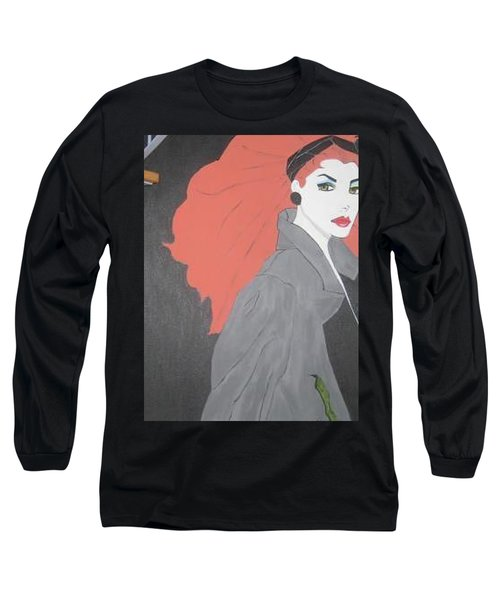 Long Sleeve T-Shirt featuring the painting RED by Nora Shepley