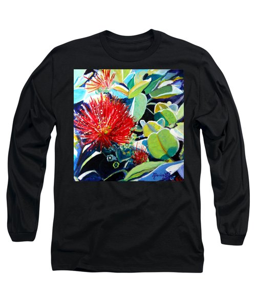 Red Ohia Lehua Flower Long Sleeve T-Shirt