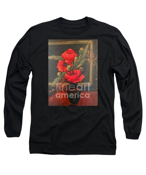 Red Poppies Long Sleeve T-Shirt by Glory Wood