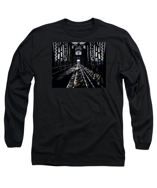 Long Sleeve T-Shirt featuring the photograph Red River Rail Road Crossing by Diana Mary Sharpton